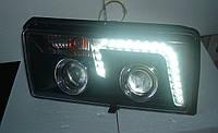 Передние фары на ВАЗ 2105 с ходовыми огнями (Светомания) черные, фото 1