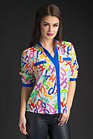 Женская креп-шифоновая блуза Леон на длинный рукав   X