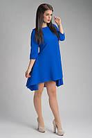 Модное женское платье цвета электрик удлиненное сзади Волна