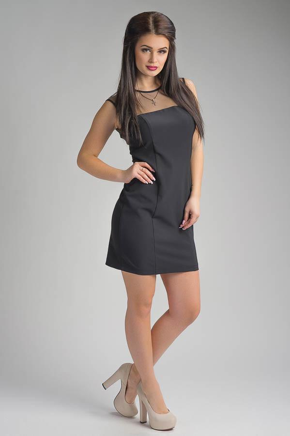 47a1921faae8e6b Элегантное черное короткое женское платье Виктори -