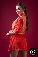 Яркое женское практичное платье коралового цвета акционная цена