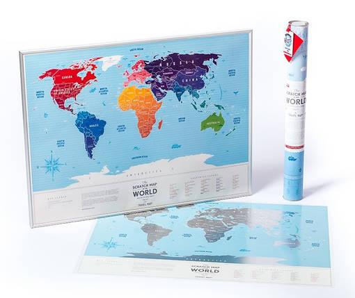 """Скретч карта 1DEA.me Мира Travel Map """"Silver"""" english (тубус), фото 2"""