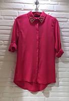Стильная женская креп-шифоновая рубашка бордового цвета