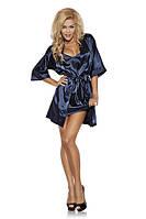 Темно-синий атласный женский халатик Satyn 90 dark blue