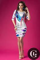 Женское стильное яркое платье Жар-птица с цветным принтом