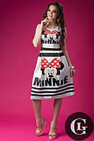Женское платье до колен стильное на короткий рукав с принтом  innie