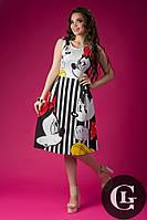Женское платье до колен стильное на короткий рукав с принтом Мики & Мини