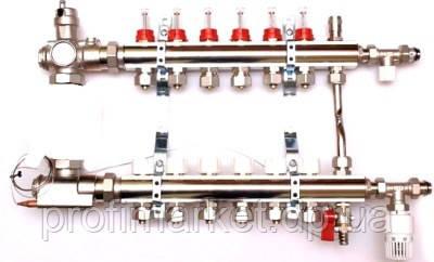Коллектор для теплого пола в сборе на 12 выходов с расходомерами LUXOR