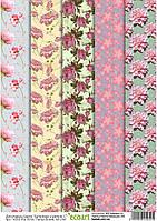 Декупажная карта 52 Обои в цветах 1, 60 г/м2, А4, 210Х290 мм(товар при заказе от 500грн)