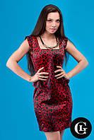 Женское стильное платье красного цвета Леопард