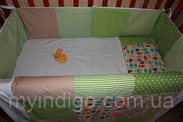 """Набор постельного в детскую кроватку""""Совушки"""""""