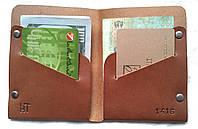 Тонкий женский кожаный кошелек портмоне коричневый тонкий ручная работа. KAG Leather ЖК-102К