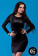 Женское стильное платье черного цвета с эластаном