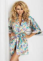 Атласный женский халатик Satyn 90 fiolet print