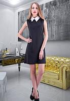 Платье  черное с белым воротником