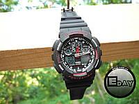 Спортивные наручные часы Casio G-Shock GA 100 Черные с красным