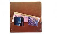 Кожаное портмоне мужское кошелек тонкий коричневый ручная работа. KAG Leather МК-103К