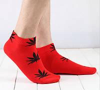 Носки HUF plantlife, красные с чёрным листом конопли К02, фото 1