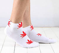 Носки HUF plantlife, белые  с красным листом конопли К04, фото 1