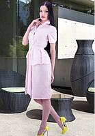 Платье с поясом  нежно розового цвета