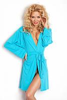 Бирюзовый женский вискозный халат Ines blue