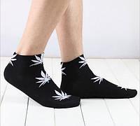Носки HUF plantlife, чёрные с белым листом конопли К07, фото 1