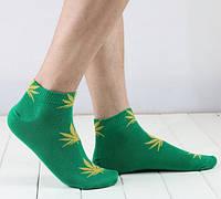 Носки HUF plantlife, зелёные с жёлтым листом конопли К08, фото 1