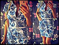 Элегантное летнее платье с цветочным орнаментом 1012