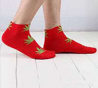 Носки HUF plantlife, красные с салатовым листом конопли К13, фото 1