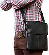 Повседневная комфортная сумка через плечо, кожаная Alvi av-101black черная, фото 7