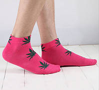 Носки HUF plantlife, розовые с зелёным листом конопли К14, фото 1