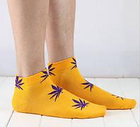 Носки HUF plantlife, жёлтые с фиолетовым листом конопли К15, фото 1