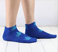 Носки HUF plantlife, синие с голубым листом конопли К16, фото 1