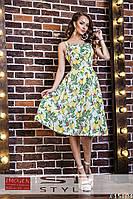 Женское платье с модным принтом на шлейках