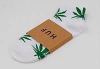 Носки HUF plantlife, белые с зелёным листом конопли К19, фото 1