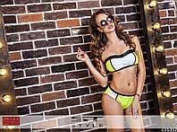 Женский купальник из бифлекса со вставками кожи