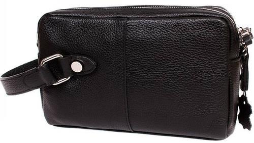 Деловая мужская сумка- борсетка с плечевым ремнем, кожаная Alvi av-4-641A черная