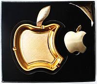 Пепельница с зажигалкой Apple из метала (золото) №3826