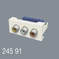 Розетка Аудио Видео AUDIO VIDEO 45x22,5 модульная для установки в люк, кабель-канал, настенный бокс