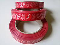 Лента бумажная красная с цветами ширина 20 мм