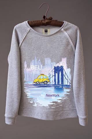 Женский светшот (свитшот) с принтом Нью - Йорк (машина)