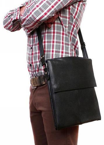 Удобная кожаная сумка на каждый день черного цвета Alvi av-94black