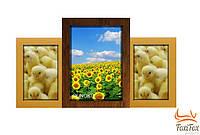 """Деревянный коллаж на 3 фото """"Двойное золото"""""""
