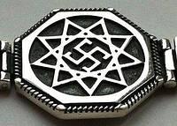 Обережник серебряный браслет со славянским оберегом
