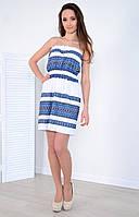 Ляное платье декорировано классическим геометрическим узором, фото 1