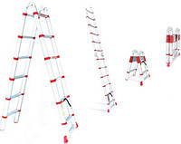 Лестница алюминиевая телескопическая раскладная универсальная АМ 3039