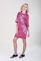 Нежно фиолетовое платье с растительной вышивкой, фото 1