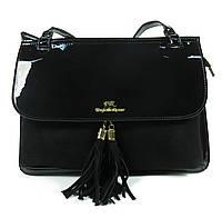 Черная лаковая сумка с замшей