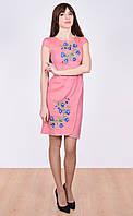 Льняное платье « Звонка» с цветами на груди