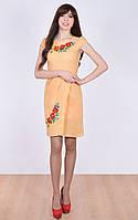 Платье с запахом и коротким рукавом фонариком